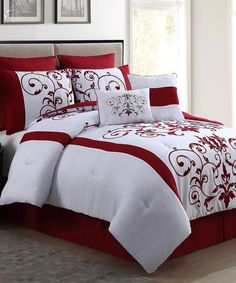 Look at this Red Cassandra Flocked Comforter Set on #zulily today!