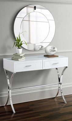 MY-Furniture Barcelona Style White Glass Dressing Console/table - Aurelia for sale online Table Console Blanche, White Console Table, Console Tables, Mirrored Furniture, My Furniture, Baby Room Decor, Living Room Decor, Multipurpose Furniture, Pallet Furniture