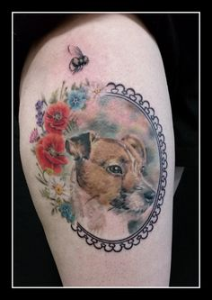 Realistic dog portrait by Jolene Sherrard at Adorned Tattoo, Dorset UK. https://www.facebook.com/adornedtattoo