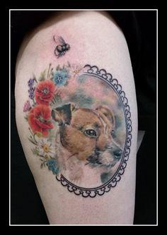 Realistic dog portrait by Jolene Sherrard at Adorned Tattoo, Dorset UK. https://www.facebook.com/adornedtattoo