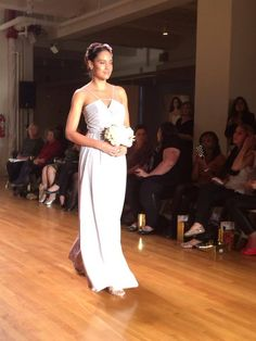 Floor length bridesmaid dress with stripy neckline #AngeloAccess