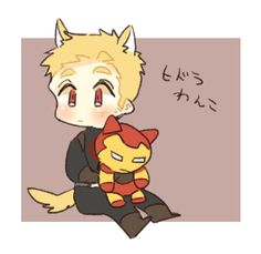 I always imagined Hydra!Steve as an overgrown puppy. Love the fact he's holding an iron man plush, takes away the whole killer issue XD