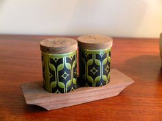 Vintage Set of Hornsea Salt and Pepper Shakers with teak tray