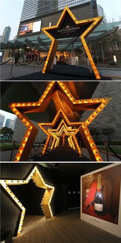 Moet Chandon event in SWFC Observatory. Event arrival inspiration for and at Exhibition Booth Design, Exhibition Display, Stage Set Design, Event Design, Moet Chandon, Led Neon, Veuve Cliquot, Gate Design, Display Design