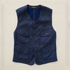 Limited-edition vest inspired by classic beach-cloth styles. Made from indigo-dyed Japanese cotton