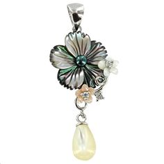 Sterling Silver Gray Shell, Pearl and Cubic Zirconia Flower Pendant - Fire and Ice