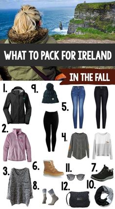 This is everything a woman needs to pack with her for a trip to Ireland in the fall. The weather is cool and rainy but the scenery is gorgeous!