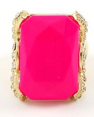 Miami Ice Gold and Hot Neon Pink Statement Ring-$26-Find hot fashion jewellery and statement jewlry at Strike Envy. #jewellery #jewlry