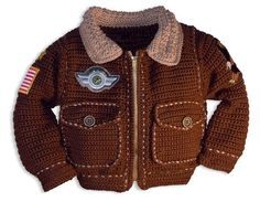 Baby Crochet Patterns, Baby Boy Crochet Pattern, Bomber Jacket Crochet Pattern, Military Jacket