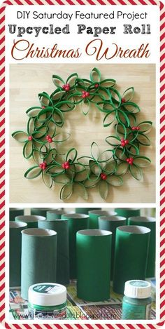 DIY Paper Roll Christmas Wreath - See more beautiful DIY Chrsitmas Wreaths at DIYChristmasDecorations.net!
