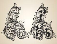 Intertwining Engraved Scrolls royalty-free intertwining engraved scrolls stock vector art & more images of engraving Filigrana Tattoo, Arabesque, Swirl Tattoo, Filagree Tattoo, Motif Baroque, Molduras Vintage, Metal Engraving, Scroll Pattern, Filigree Design