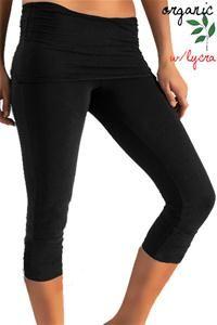 Organic Fold over Yoga Capri Pants Dark Black