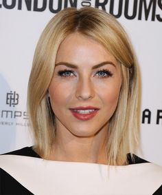 Julianne Hough Hairstyle - Formal Medium Straight Hairstyle. Try on this hairstyle and view styling steps! http://www.thehairstyler.com/hairstyles/formal/medium/straight/Julianne-Hough-medium-straight-smooth-hairstyle