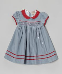 Ptite Môm Gray & Red Snowflake Smocked Dress - Infant | zulily