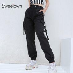 5b1ba18796b60b US $17.44 51% OFF|Sweetown Plus rozmiar Harajuku spodnie Cargo kobiety  czarny wysoka talia Pantalon Bomber Femme Street Style damskie spodnie do  biegania ...