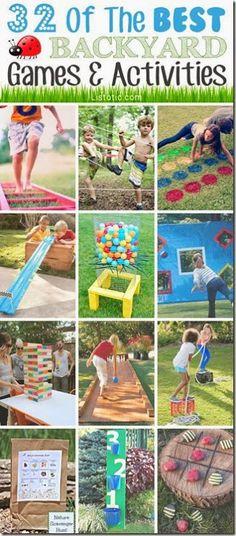 32 Super fun ideas for Family Backyard Fun this summer! I love the giant kerplunk game and so many more! GREAT round-up #familyfun #summerfun #summerbucketlist