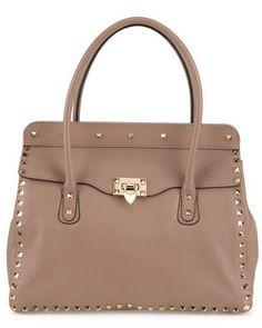 rockstud leather satchel / valentino
