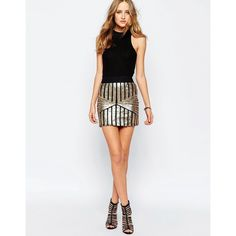 Wyldr Get Down Geo Sequin Skirt (10.705 HUF) ❤ liked on Polyvore featuring skirts, mini skirts, gold, white body con skirt, short sequin skirt, sequin skirt, bodycon skirt and white bodycon skirt