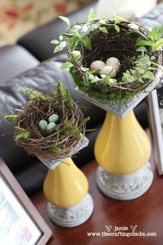 A pretty idea for spring centerpieces: top wide candlesticks with decorative birds' nests instead of candles. Bring the outdoors in!