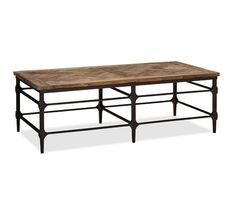 "Parquet Reclaimed Wood Rectangular Coffee Table | Pottery  Barn  54"" wide x 26"" deep x 17.75"" high"