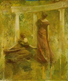 """Music"" by Thomas Wilmer Dewing. 1895 oil on canvas. In the collection of The Smithsonian American Art Museum, Washington, DC. Gift of John Gellatly."