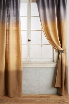 Anthropologie Home Collection has lots of hippie curtains...Dip-Dye Curtain #anthropologie