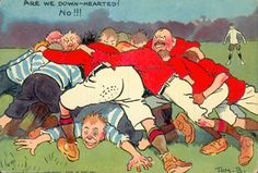 """Tom Browne """"Are we downhearted? Rugby Poster, Rugby Sport, Job 1, Dapper Dan, Vintage Comic Books, Rugby League, Illustration, Sports, Vintage Sport"""