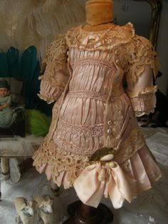 Absolutely wonderful French haute couture dress in pink. for a doll from treasuresfromparis on Ruby Lane