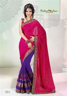 """A fascinating combination of purple with cherry pink Brasso (pallu) along with casual design on """"Palav"""". The horizontal patti stich patta design giving out the latest trendy look to any woman at her every occasion. The golden foil touch on the Brasso (pallu) adds to the overall look, touch and feel of the Saree. """"Fashion with Tradition."""""""