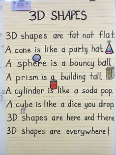 Love this 3D Shapes Poem from Kayla Parker's blog!