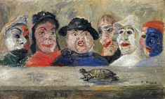 View Masques regardant une tortue By James Ensor; oil on canvas laid down on panel; Access more artwork lots and estimated & realized auction prices on MutualArt. Art And Illustration, James Ensor, Modern Art, Contemporary Art, Kunst Online, Art En Ligne, Masks Art, Magritte, Buy Art Online