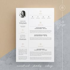 Caroline ResumeCv Template  Word  Photoshop  Indesign