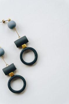 NEW Minimalist polymer clay earrings. Soft dark gray + light blue colors. Geometric shapes. Modern, unique, funky earrings.