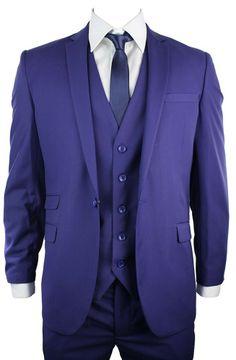 Unique Blue Purple Colour 3 Piece Suit for men. #suits #clothing #fashion #menswear #mensstyle #shopping #online