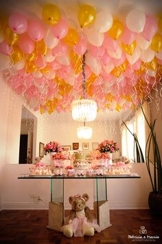 Balloon ceiling - Steven did this to our living room ceiling when he proposed to me