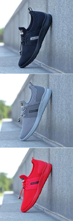 a40f1460a21 Men Mesh Fabric Adjustable Buckle Shock Absorption Running Sport Sneakers  Mens Slip On Sneakers