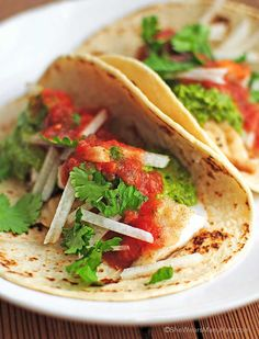 Fish Tacos with cilantro pesto and jicama