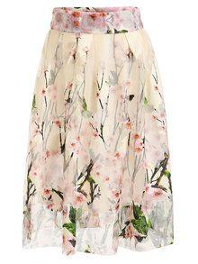 Peach Blossom Print Mesh Midi Skirt