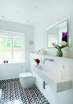 Beautiful bathroom...I love this trough sink.
