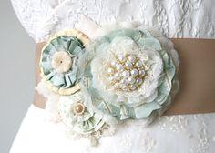 Mint Green Wedding Sash, Bride Flower Sash, Beach Wedding, Champagne Ribbon Sash. $136.00, via Etsy.