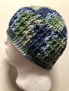 Mens TEEN Crochet SKI Hat Beanie USA Handmade Brand New HICKORY BARK-cap -GREEN 531e89068d55