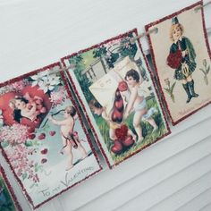Vintage Valentine Card Bunting