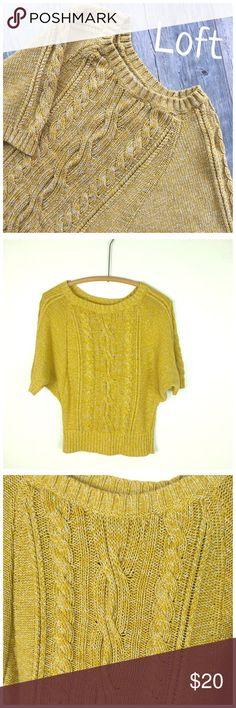 """Loft Cable knit Sweater Loft Ann Taylor Cable knit Dolman Sleeve Sweater. Short Sleeved in Marigold with flecks of Cream. Crew neck. Preowned  Measurements  Length 22"""" Bundle and Save. I ship same day or next day almost always. NO Trades LOFT Sweaters Crew & Scoop Necks"""