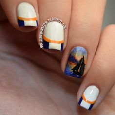 Preview: Ahoy there! Nautical Inspired French Manicure with Sailboat Accent Nail Art