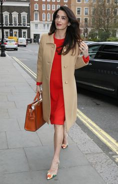 Amal Clooney Shows Off Baby Bump in Chic Red Dress in London -- See the  Pics! 203faf5f20fd1