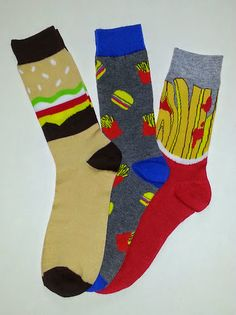 Hamburger & French Fry Themed Crew Socks! Sold by Socks & Souls where we are warming souls through soles by giving a pair of socks to someone in need with every sock purchase!