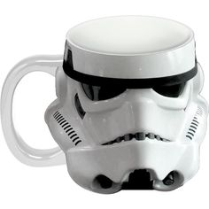 Amazon.com | Vandor 99101 Star Wars Storm Trooper Sculpted Ceramic... ($19) ❤ liked on Polyvore featuring home, kitchen & dining, drinkware, white coffee cups, ceramic coffee cups, black drinkware, black coffee cups and ceramic mugs