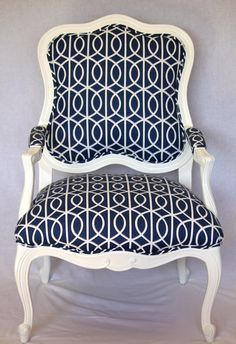 Vintage French-Inspired Arm Chair Reupholstered in Dwell Studio Fabric