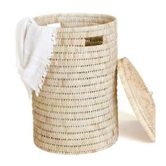 A sturdy, round laundry basket with a broader weave. Comes with small side handles and lid. Size Options: Large : (d) x (h) Small : (d) x (h) This product has a lead time of 2 weeks for production and delivery Lead Time, Laundry Basket, Weave, Baskets, Palm, Delivery, Design, Hair Lengthening, Hampers