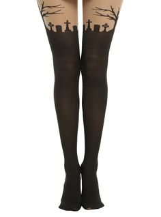 Sheer tights with a black faux thigh high topped with a spooky graveyard scene. Perfect for Halloween or for you ghoulie girls, all year round